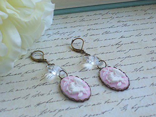 (Pink Butterfly Cameo Cab Vintage Style Crystal Glass Earrings)