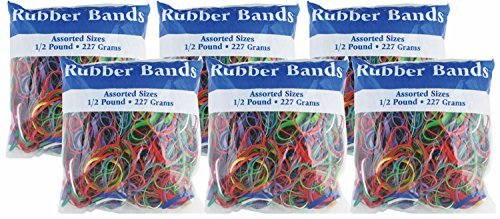 BAZIC Assorted Rubber Bands, Multi Color, 227g/0.5 lbs. (Pack of 6)