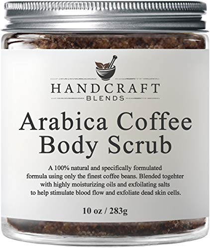 100% Natural Arabica Coffee Body Scrub with Organic Ingredients – Best for Stretch Marks, Acne, Anti Cellulite & Spider Vein Therapy for Varicose Veins - 10 OZ