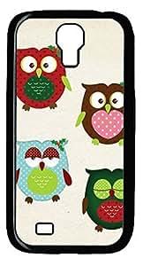 Cartoon Owl Hard Cover Back Case For Samsung Galaxy S4,PC Black Case for Samsung Galaxy S4 i9500