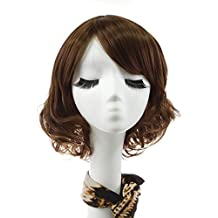 "Rabbitgoo Short Dark Brown Wig Curly Wave Women Flapper Bob Wigs Heat Friendly Cosplay Party Costume Hair Wig 11""(Dark Brown)"