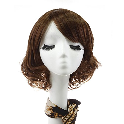 Rabbitgoo Short Dark Brown Wig Curly Wave Women Flapper Bob Wigs Heat Friendly Cosplay Party Costume Hair Wig 11