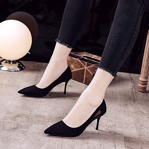 Estiletes Yukun De Zapatos del Otoño Zapatos zapatos De de tacón Acentuados Negros Zapatos Las Black Salvajes Acentuados Los Altos Aguja alto Mujeres De axFaqwr4