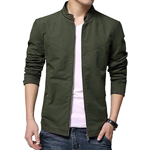 Womleys Men's Casual Stand Collar Cotton Jacket Coat Outerwear (Asian XL (US Small), Army Green)