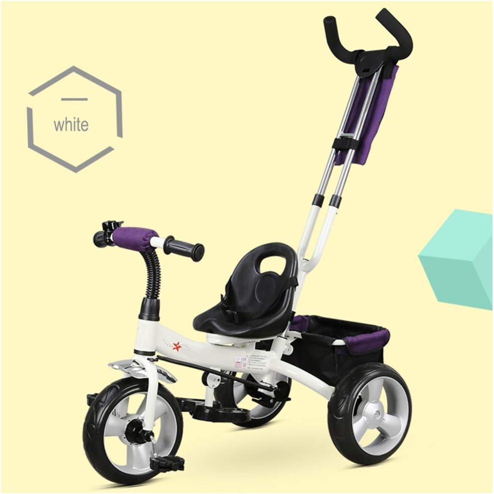 GSDZSY - Triciclo para Niños con Empujador Removible, El Empujador Puede Controlar La Dirección, Asiento Ajustable Y Manillar, Adecuado para Niños De 18 Meses A 5 Años De Edad,White