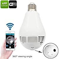 ANKD 960P 360 Degree Wireless Camera,Wifi Hidden Panoramic Fisheye IP Camera,Home Security Surveillance with 3 LED White Lights and 3 Infrared Lights,Support Android/IOS APP,White