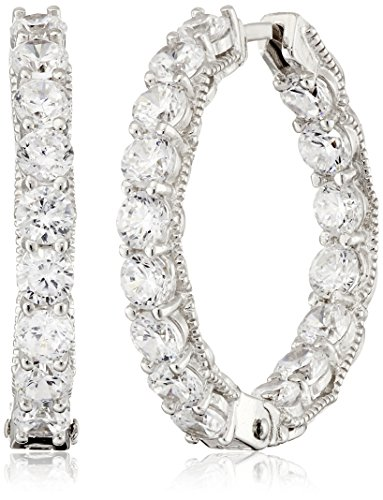 Sterling Silver Cubic Zirconia 3mm Inside Out Hinged Hoop Earrings