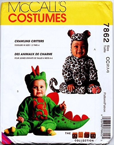 Toddler Leopard or Dinosaur Costume Sewing Pattern McCalls 7862 Size 2-3-4