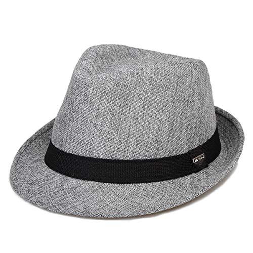 Straw Classic Fedora (Erigaray Classic Fedora Straw Hat for Mens Summer Short Brim Beach Sun Hat Jazz Cap Gray)