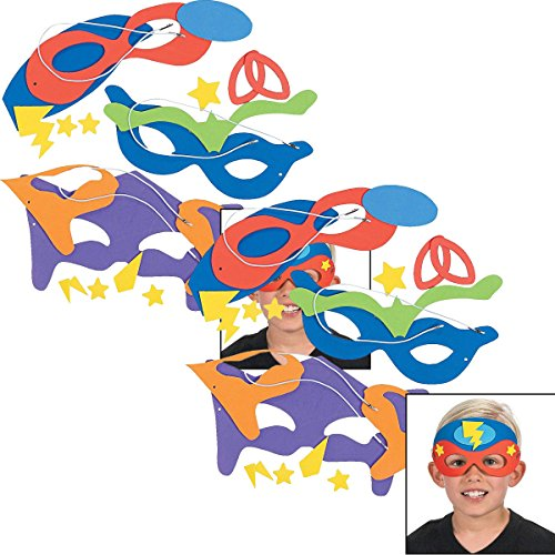 Fun Express Superhero Masks Craft Kits (Makes 24) Self-Adhesive Foam Each 8