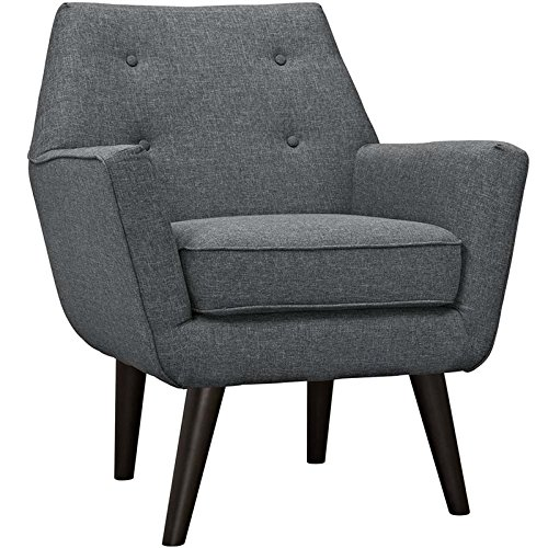 Modway Posit Mid-Century Modern Fabric Upholstered Accent Lounge Arm Chair In Gray