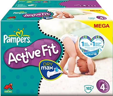 PAMPERS Pañales Active Fit Talla 4 maxi 7 – 18 kg Mega Pack, 102 unidades): Amazon.es: Salud y cuidado personal