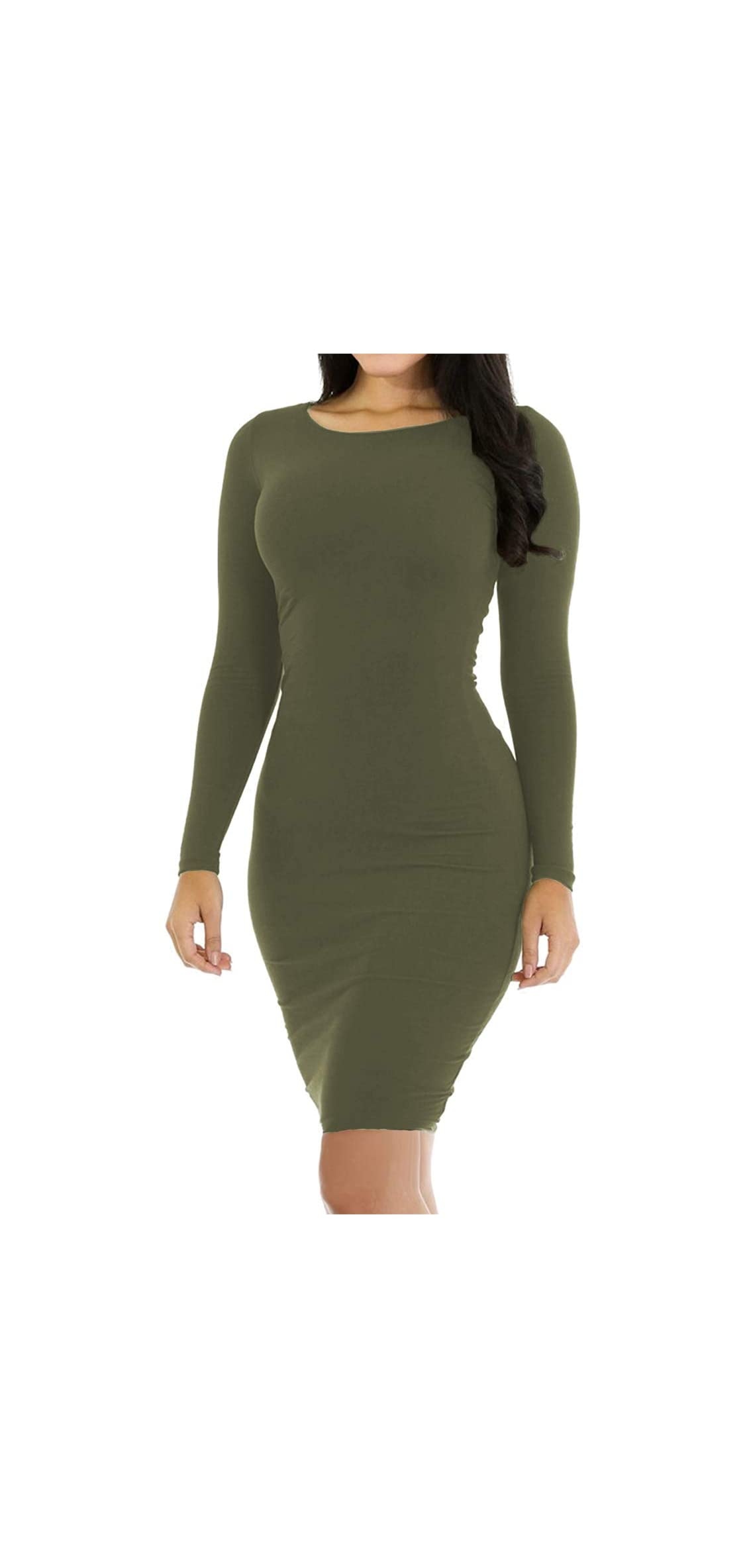 Women's Pencil Bodycon Dress Sexy Casual Long Sleeve Ruched Midi