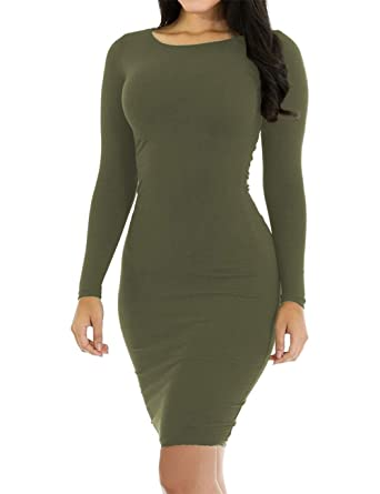 d92626e5b3c Women's Pencil Bodycon Dress Sexy Casual Long Sleeve Ruched Tight Midi Club  Party Dress Army Green