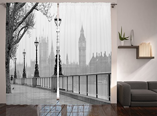 Ambesonne London Decor Collection, View of Big Ben from the Walking Way by the Thames River with Street Lights under Rain Picture, Living Room Bedroom Curtain 2 Panels Set, 108 X 84 Inches, Dark Grey