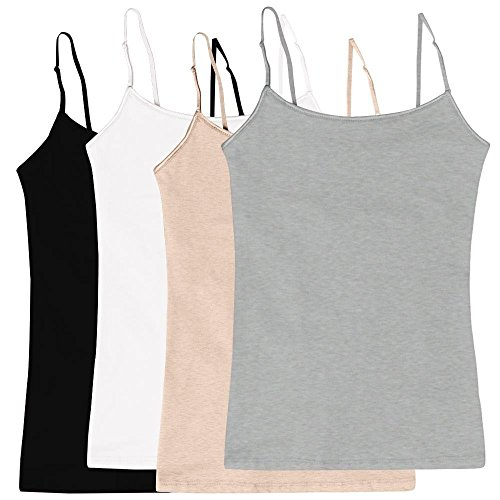 Women's Camisole Built-in Shelf Bra Adjustable Spaghetti Straps Tank Top Pack