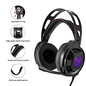 Ericy Xbox one PS4 Gaming Headset, Stereo Headphone 3.5mm jack plug Compatible with PS4, Xbox One S, PC & Mobile/Tablet Devices, Clear Sound, Cool LED Lights & Noise-canceling Microphone (Black)
