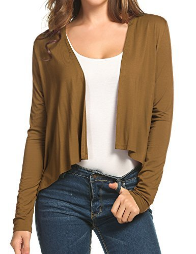 Meaneor Women's Asymmetrical Hem Classic Open Front Cropped Cardigan Short Cardigan Sweater Brown M