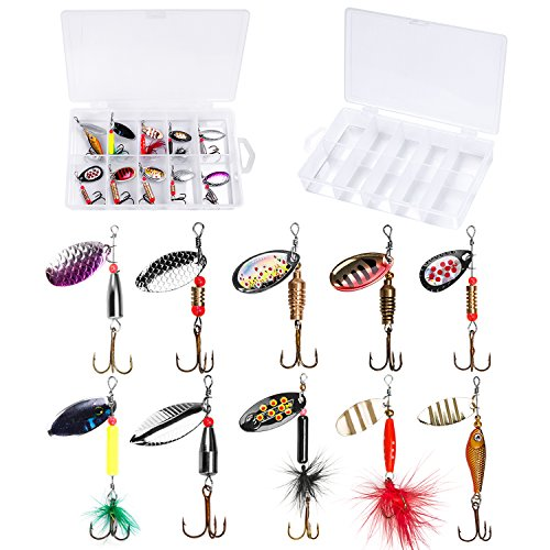 PLUSINNO Fishing Lures for Bass Spinner Lures with Portable Carry Bag,Bass Lures Trout Lures Hard Metal Spinner Baits?Kit (10pcs spinner set with box) (Best Inline Spinners For Trout)