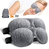 Sleep Mask, 3D Contoured & Comfortable Sleep Eye Mask for Sleeping, Travel, Nap, Luxury Sleep Mask with Ear Plugs and Carry Pouch, Blindfold with Adjustable Strap for Men Women Kids (2 Pack)