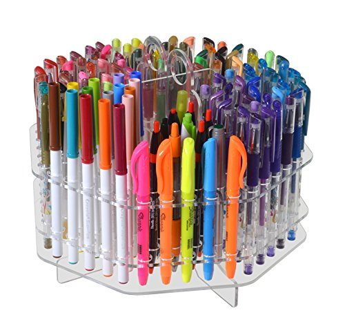 Marketing Holders Rotating Clear 120 Slot Table Top Counter Top Pen / Sharpie / Paint Brushes / Makeup Brushes / Lip Liner / Eye Liner Holder Display by Marketing Holders