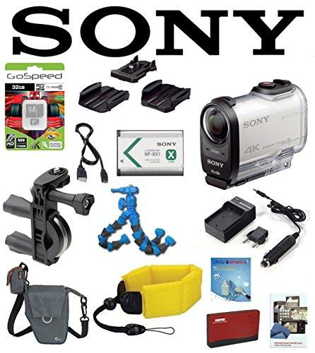Sony FDR-X1000V/W FDRX1000VW X1000VW FDR-X1000V 4K Action Cam w/ Handlebar Mount, Battery, Flexpod, LowePro Case, Floating Strap, 32GB Accessory Kit