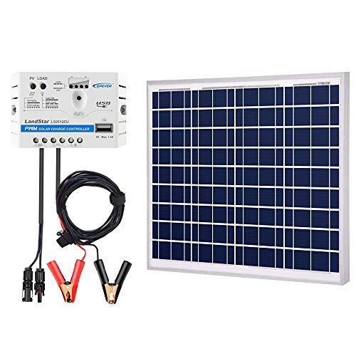 ACOPOWER 50W 12V Solar Charger Kit, 50 Watts Polycrystalline Solar Panel & 5A Charge Controller for RV, Boats, Camping; w USB 5V Output as Phone Charger