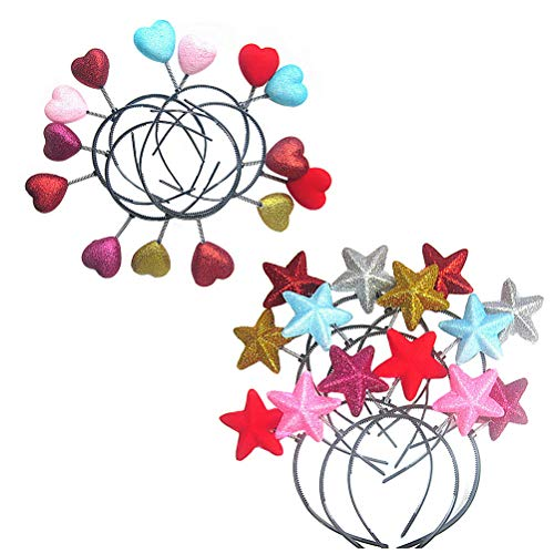 Lurrose 10pcs Loving Heart Head Boppers Headband Cute Star Bobble Wobble Spring Hair Hoop Valentine's Day Headwear for Holiday Costume Party