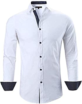 YFSLC-Studio Camisa De Manga Larga Hombre,Hombres Camiseta Blanca Business Camisetas Manga Larga Casual Color Hit Slim Fit Cómodos Hombre Vestido Blusa Camisetas Personalizadas: Amazon.es: Deportes y aire libre