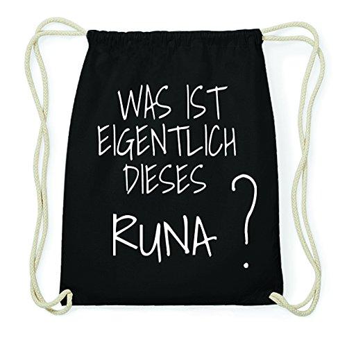 JOllify RUNA Hipster Turnbeutel Tasche Rucksack aus Baumwolle - Farbe: schwarz Design: Was ist eigentlich