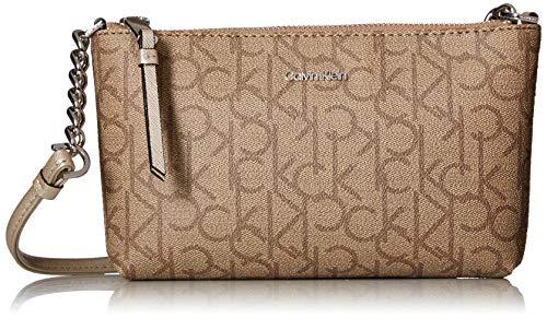 - Calvin Klein Hayden Key Item Signature Top Zip Chain Crossbody, Buck Wheat