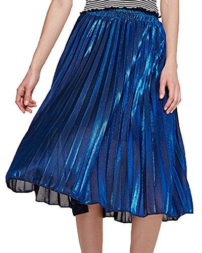 Longue Fit Plisse Slim Femme Mi Jupe Couleur Plage Bleu Taille Ligne Haute A Pure Z0xSgX