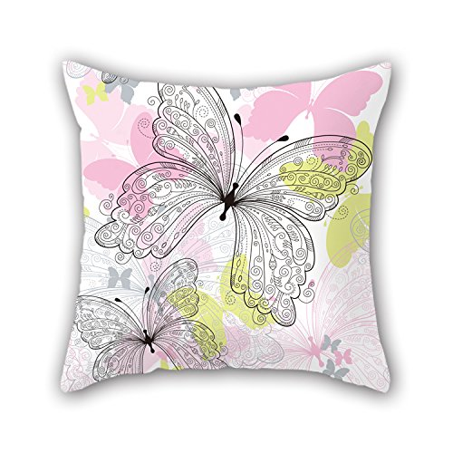 PILLO Butterfly Throw Pillow Case 16 X 16 Inches / 40 By 40 Cm Gift Or Decor For Office,drawing Room,adults,relatives,bf,couch - Both Sides