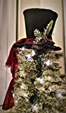 Black Top Hat - Christmas Tree Topper -Tree Topper Bow - Tree Topper Top Hat - Centerpiece - Christmas Decoration **READY TO SHIP**