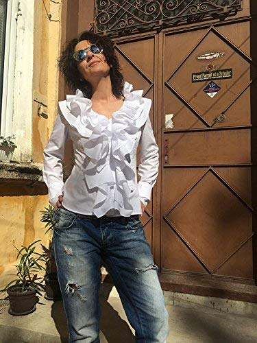 (Ruffle collar blouse, Pirate blouse, Gothic shirt, Steampunk blouse, Lolita, White Cotton blouse, Romantic poet blouse, Victorian blouse)