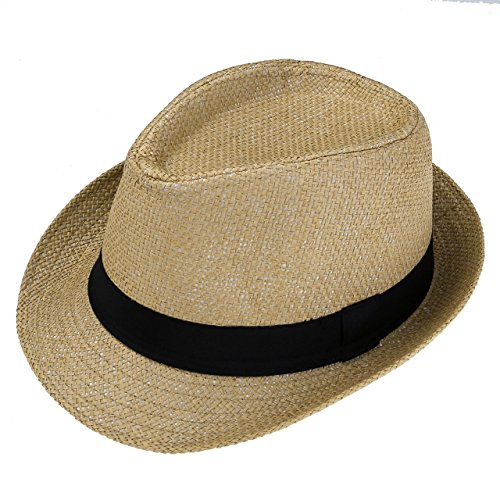 Short Brim Fedora - Faleto Unisex Summer Panama Straw Fedora Hat Short Brim Beach Sun Cap Classic (#01 Khaki)