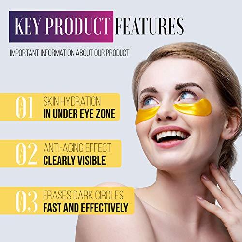 51ZXxHBOpuL - Under Eye Patches - 24K Gold Under Eye Mask Anti-Aging Hyaluronic Acid Collagen Under Eye Pads Reducing Dark Circles & Wrinkles Treatment Gel Bags