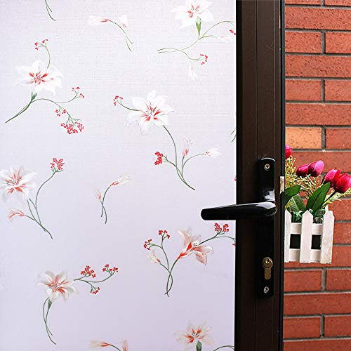(Mikomer Lily Flower Window Film,Colorful Decortive Door Film,No Glue Privacy Glass Window Paper,Removable/Stained Glass/Anti UV for Bathroom,Office,Meeting Room,Bedroom,35In. by 78.7In.)
