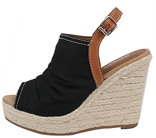 SODA Women's Open Toe Ruched Canvas Espadrille Platform Wedge Black 7.5