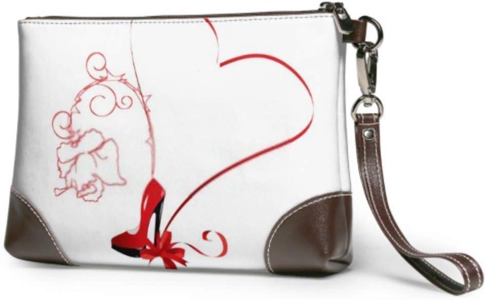 JHGFG Bolso de Mano Corazón Rojo Zapato de Mujer Cartera de Cuero Cartera de Embrague para Mujeres Mujeres Carteras Monedero de teléfono Inteligente