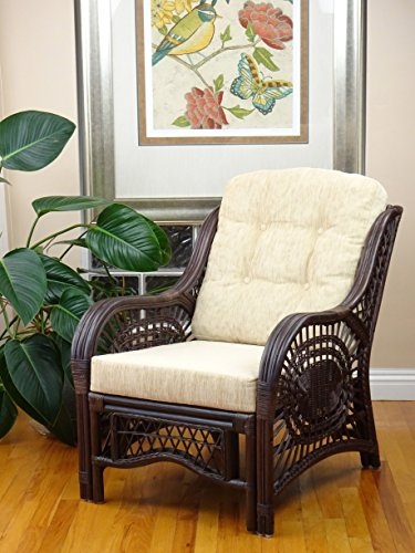Malibu Lounge Armchair ECO Natural Rattan Wicker Handmade Design with Cream Cushion, Dark Brown (Chair Wicker Brown Dark)