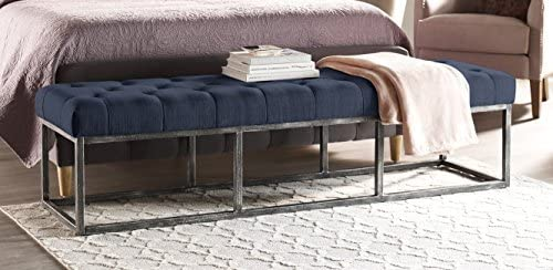 Serta Danes Upholstered Tufted Long Bench, Metal Frame Legs, Padded Ottoman for Bedroom, Blue