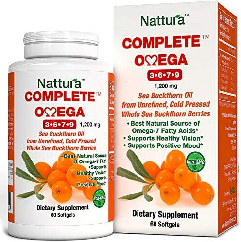COMPLETE OMEGA 3-6-7-9 * Pure Sea Buckthorn Oil * European Quality * From Unrefined, Cold Pressed Whole Sea Buckthorn Wild Berries - Non-GMO, Certified Kosher, Gluten-Free (1 Bottle (60 Capsules))