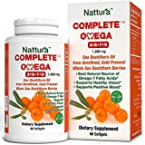 COMPLETE OMEGA 3-6-7-9 * Highest Quality, Pure Sea Buckthorn Oil From Unrefined, Cold Pressed Whole Sea Buckthorn Wild Berries - Non-GMO, Certified Kosher, Gluten-Free, cGMP (1,200mg) - 60 Capsules