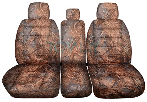 F-150 Camo Truck Seat Covers (Front 40/20/40 Split Bench) with 3 Headrests & Opening Center Console/Solid Armrest: Reeds Camouflage (16 Prints) 2012 2013 F-Series F150 ()