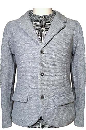 REVOLUTION NOW Men's Knitted Seed Stitch Lambswool Jacket Sweater Lt Grey