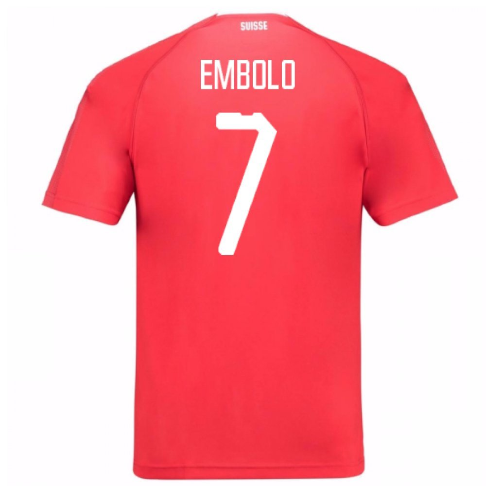 2018-19 Switzerland Home Football Soccer T-Shirt Trikot (Breel Embolo 7)