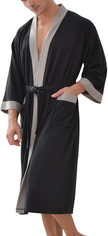 Albornoz Hombre Ducha Waffle Bata de Baño Kimono Ropa De Dormir Camisón Ligero De Encaje SPA Hotel Salón Ropa de Casa