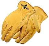 Galeton 2500-L 2500 Rough Rider Premium Leather Gloves, Elastic Back, Large ,Gold (Pack of 12)