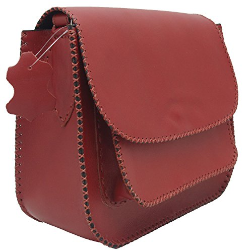 Cuoio genuino della mucca borsa tracolla in pelle fatti a mano messenger Borgogna Satell